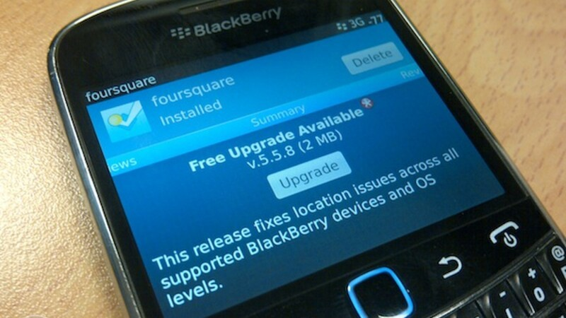 Foursquare updated to version 5.5.8 for BlackBerry smartphones