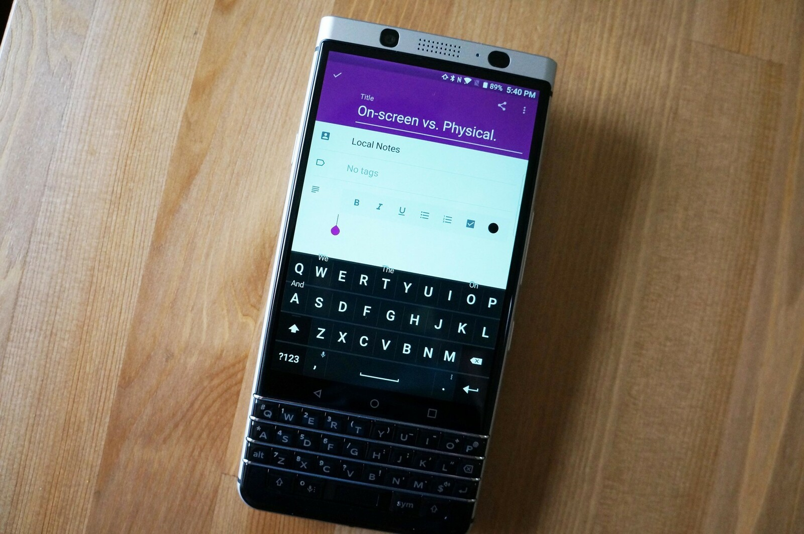 How to access the on-screen keyboard of the BlackBerry KEYone