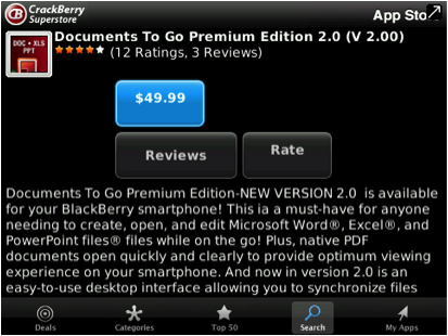 Documents To Go for BlackBerry