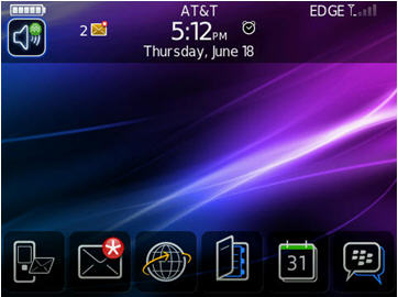 The BlackBerry home screen on the 8900. Note the profiles icon is up in the right corner.