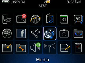 Viewing all icons by pressing the BlackBerry Button