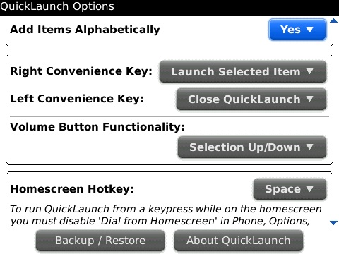 QuickLaunch for BlackBerry