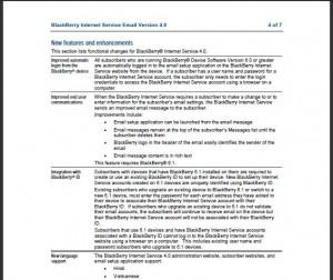 BlackBerry Internet Service BIS 4.0 details