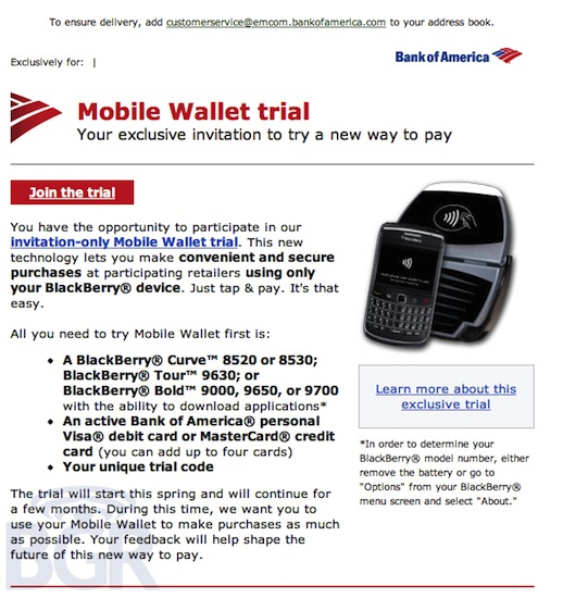 Bank of America BlackBerry NFC