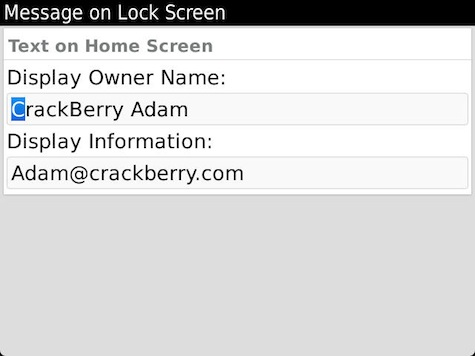 Lock Screen Information