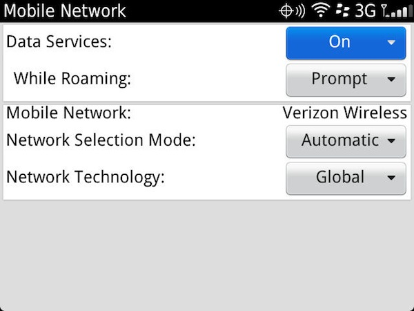 BlackBerry Network Settings