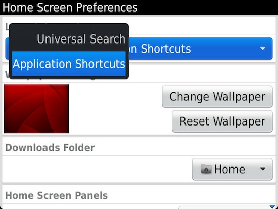 Home Screen Preferences