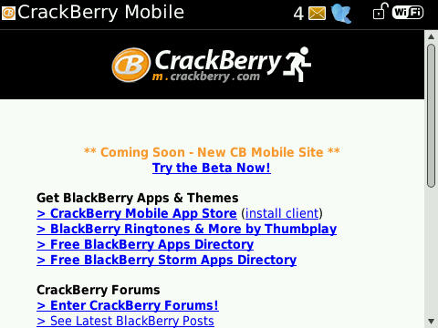 BlackBerry Bold 9700 Browser