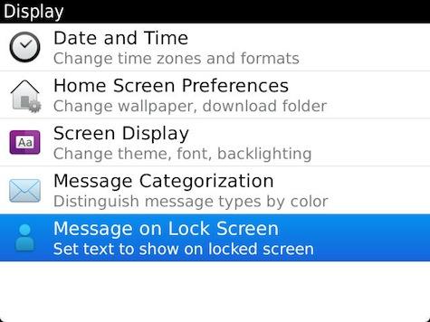 Lock Screen Message