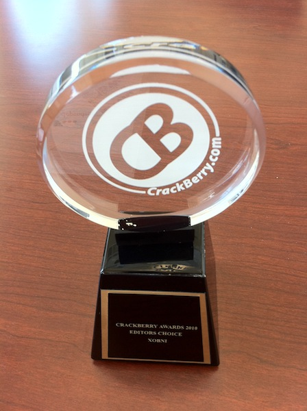 CrackBerry App Awards trophy