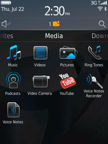 BlackBerry 6 home screen