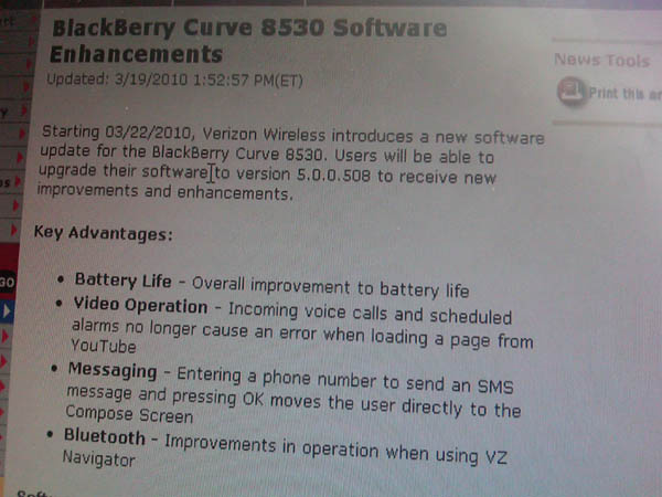 Official OS 5.0.0.508 Now Available For The BlackBerry Curve 8530 From Verizon