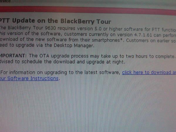Verizon Tour PTT/OS Update