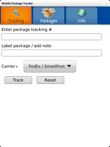 Mobile Package Tracker BlackBerry