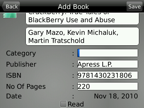 My Books BlackBerry