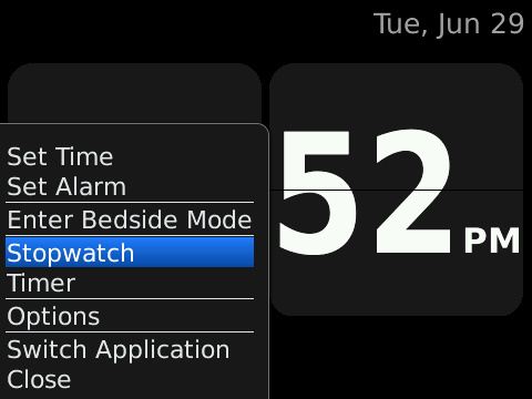 Clock app for BlackBerry