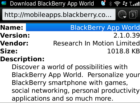 BlackBerry App World 2.1