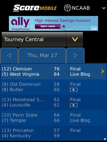 ScoreMobile BlackBerry