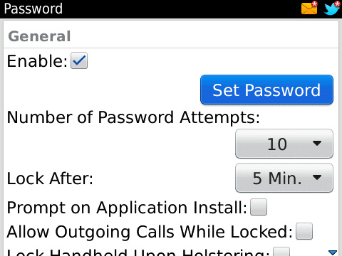 BlackBerry Password