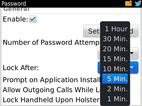 Password Protect Your BlackBerry