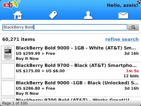 eBay Mobile 2.0 BlackBerry