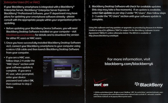 Verizon BlackBerry 6 Upgrade Guide