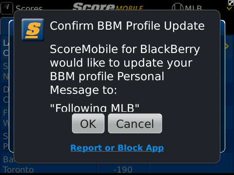 ScoreMobile BBM BlackBerry