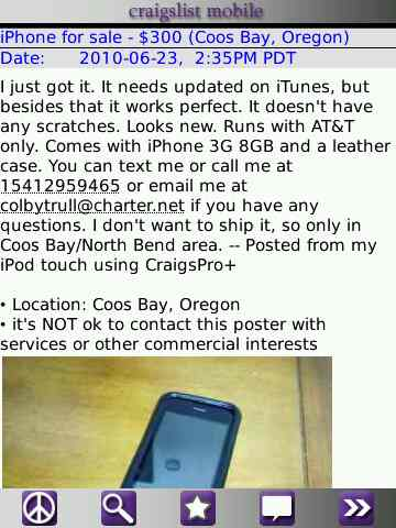 Craigslist for BlackBerry
