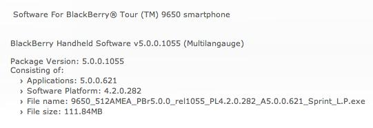 Sprint Bold 9650 OS 5.0.0.621
