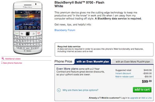 White Bold 9700 T-Mobile