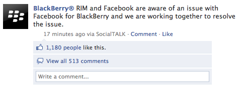 Facebook for BlackBerry Outage