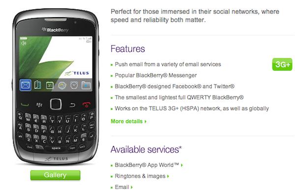 BlackBerry Curve 3G Telus