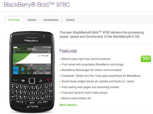 BlackBerry Bold 9780 Telus