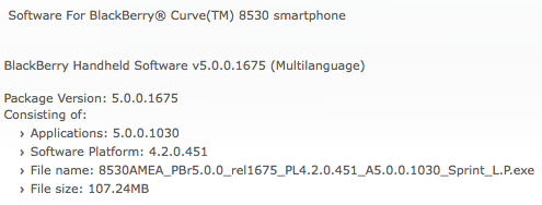BlackBerry Curve 8530 OS 5.0.0.1030
