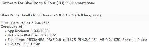 BlackBerry Tour 9630 OS 5.0.0.1030