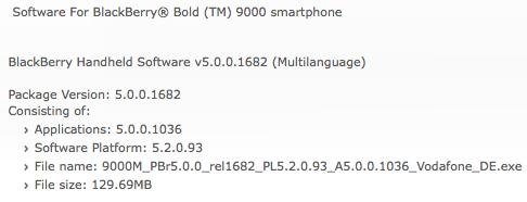 Bold 9000 OS 5.0.0.1306
