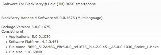 Bold 9650 OS 5.0.0.1030