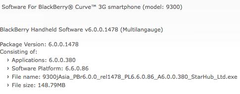 OS 6.0.0.380 Curve 3G 9300