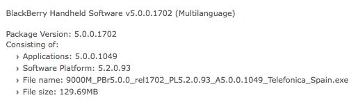 Bold 9000 OS 5.0.0.1049
