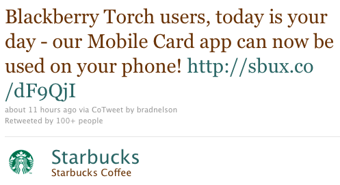 Starbucks Card Mobile BlackBerry Torch