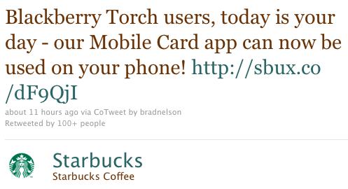 Starbucks Card Mobile BlackBerry Torch