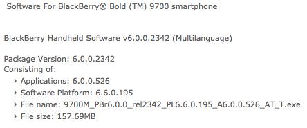 AT&T Bold 9700 OS 6.0.0.526