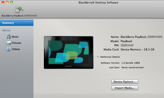 BlackBerry Desktop Manager Mac