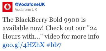 BlackBerry Bold 9900 Vodafone