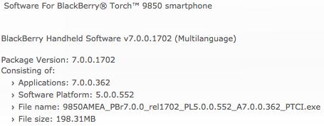 BlackBerry Torch 9850 OS
