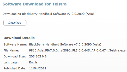 Telstra BlackBerry OS