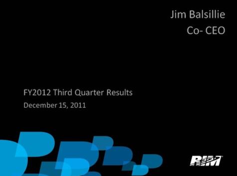 RIM Third Quarter Results