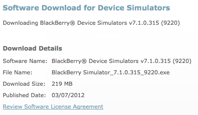 BlackBerry 9220 Simulator