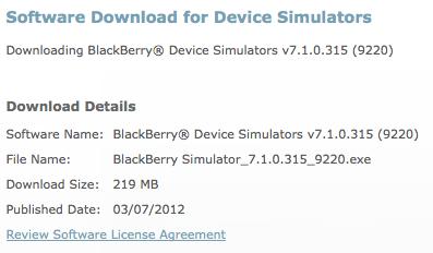 BlackBerry 9220 Simulator