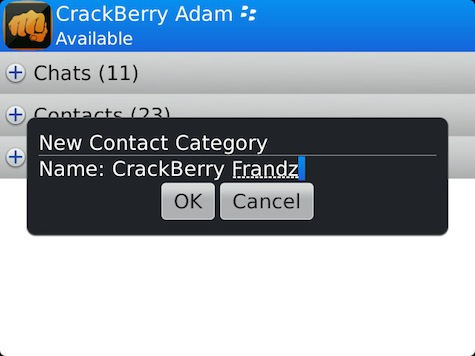 BlackBerry Messenger Contact Categories